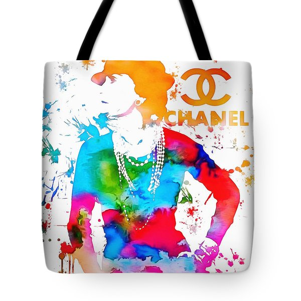 Coco Chanel Paint Splatter Tote Bag