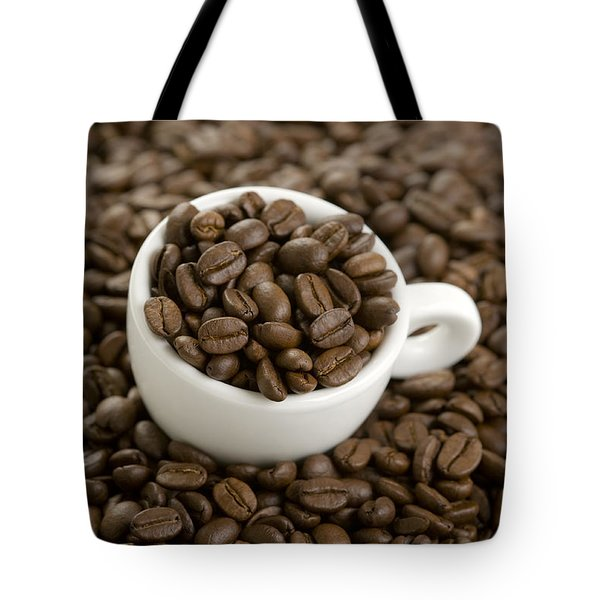 Tote Bag featuring the photograph Coffe Beans And Coffee Cup by Lee Avison