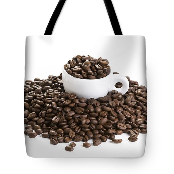 Tote Bag featuring the photograph Coffee Beans And Coffee Cup Isolated On White by Lee Avison