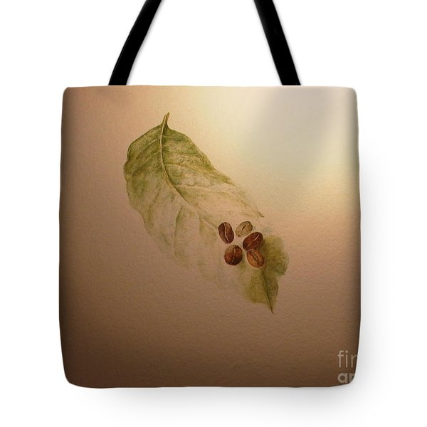 Coffee Beans On Coffea Arabica Leaf Tote Bag
