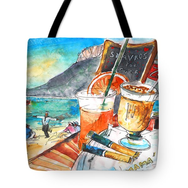 Coffee Break In Stavros In Crete Tote Bag by Miki De Goodaboom