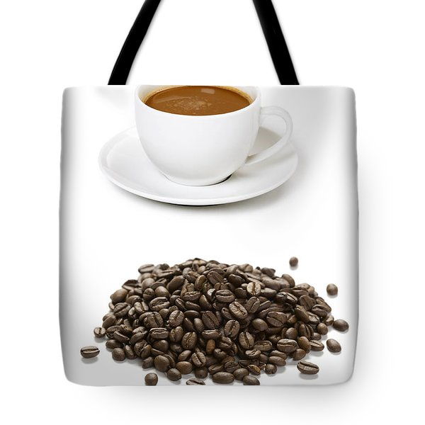 Tote Bag featuring the photograph Coffee Cups And Coffee Beans by Lee Avison