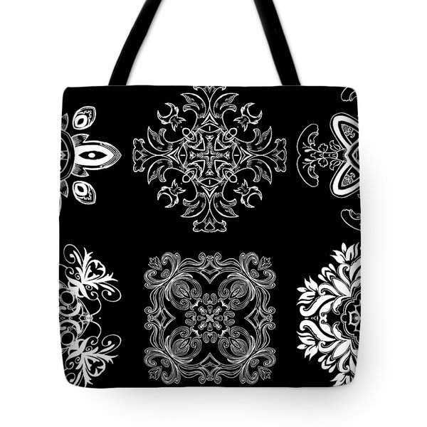 Coffee Flowers Ornate Medallions Bw 6 Peice Collage Tote Bag by Angelina Vick