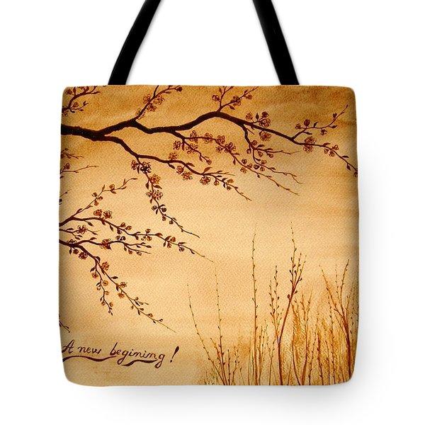 Coffee Painting Cherry Blossoms Tote Bag by Georgeta  Blanaru