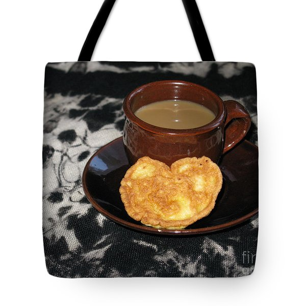 Coffee Served With Love Tote Bag by Ausra Huntington nee Paulauskaite