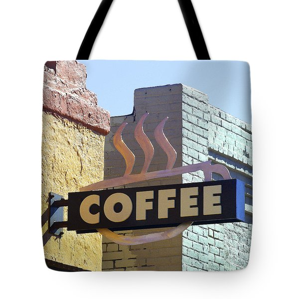 Tote Bag featuring the photograph Coffee Shop by Art Block Collections