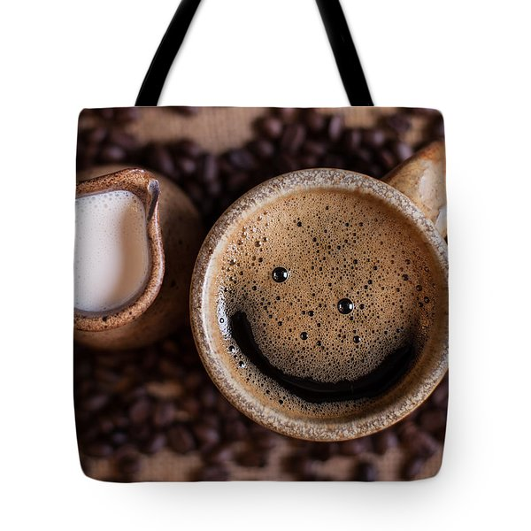 Tote Bag featuring the photograph Coffee With A Smile by Aaron Aldrich