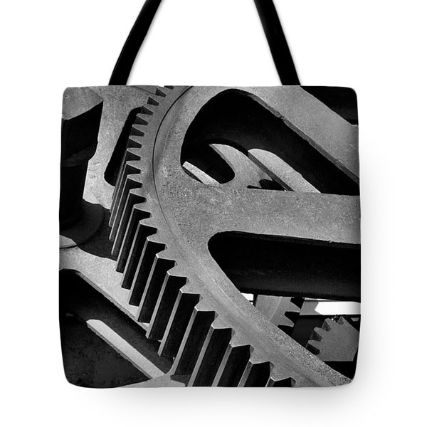 Tote Bag featuring the photograph Cogwheels In Black And White by Nadalyn Larsen