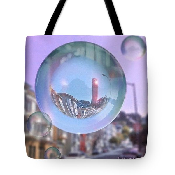 Coit Tower In A Bubble And Purple Sky Tote Bag