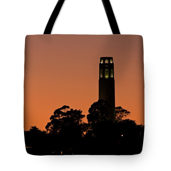 Tote Bag featuring the photograph Coit Tower Sunset by Kate Brown
