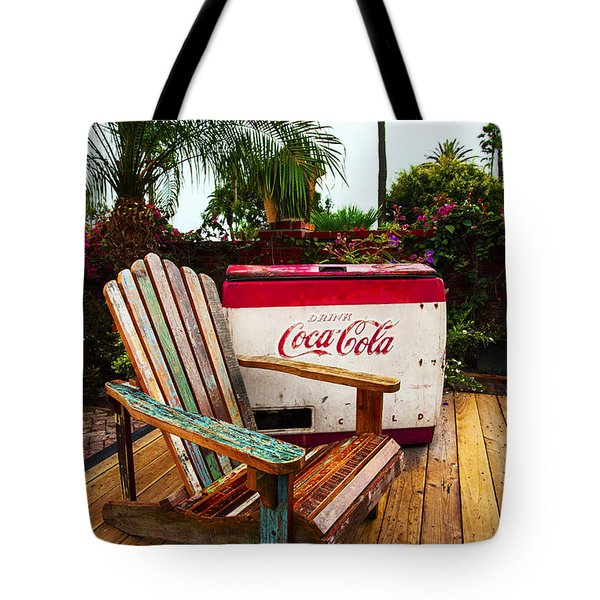 Vintage Coke Machine With Adirondack Chair Tote Bag by Jerry Cowart