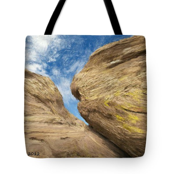 Tote Bag featuring the painting Colby's Cliff by Bruce Nutting