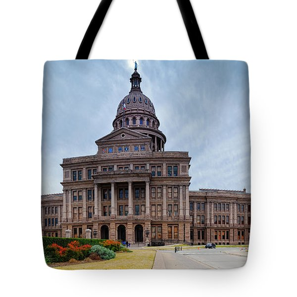 Cold And Blustery Day At The Texas State Capitol Austin Ektachrome 64 Asymmetrical View  Tote Bag