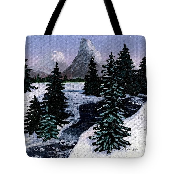 Cold Mountain Brook Painterly Tote Bag by Barbara Griffin