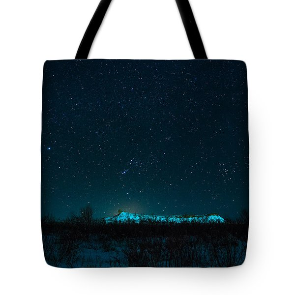 Cold Night On The Saddle Horn Tote Bag