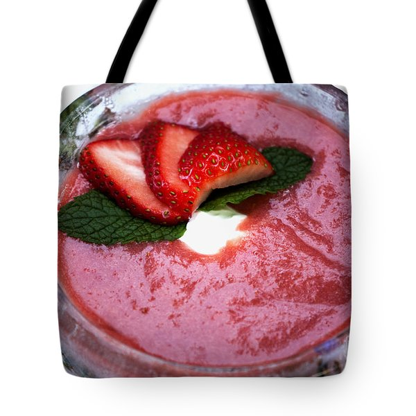 Cold Strawberry Rhubarb Soup In Ice Bowl Tote Bag by Juli Scalzi