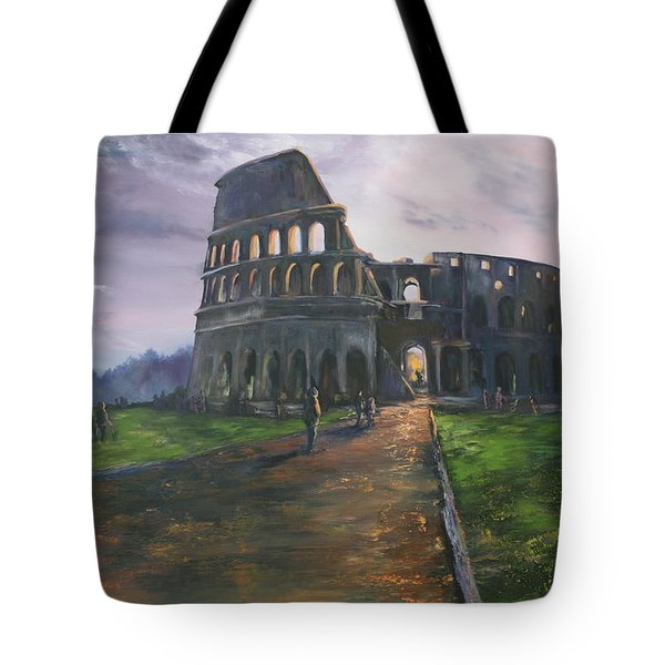Tote Bag featuring the painting Coliseum Rome by Jean Walker
