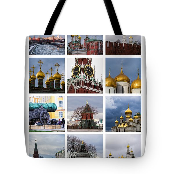 Collage Moscow Kremlin 1 - Featured 3 Tote Bag by Alexander Senin