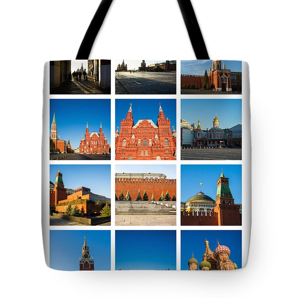 Collage - Red Square In The Morning Tote Bag by Alexander Senin