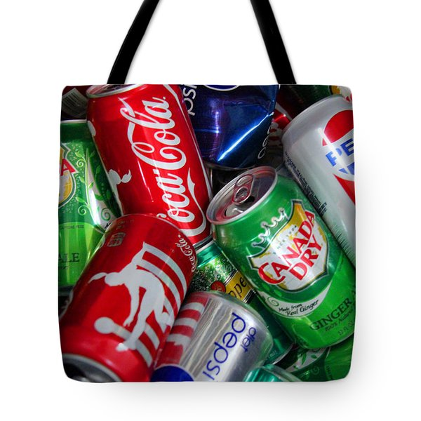 Collection Of Cans 04 Tote Bag by Andy Lawless