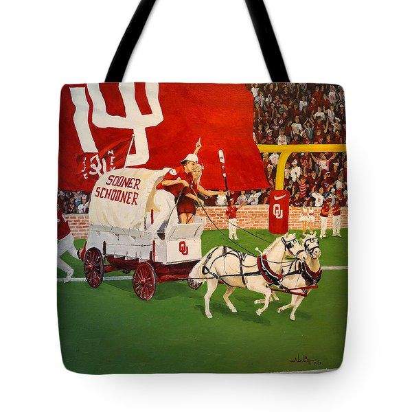 Tote Bag featuring the painting College Football In America by Alan Lakin