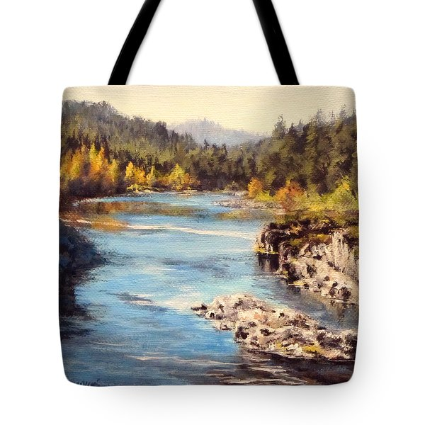 Colliding Rivers Fall Tote Bag by Karen Ilari