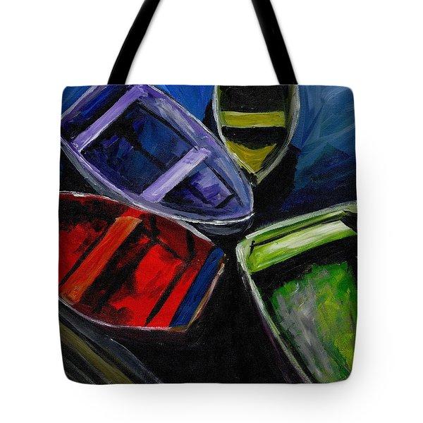 Colliding Skiffs Tote Bag