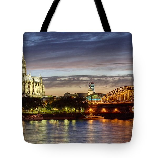 Cologne Cathedral With Rhine Riverside Tote Bag by Heiko Koehrer-Wagner