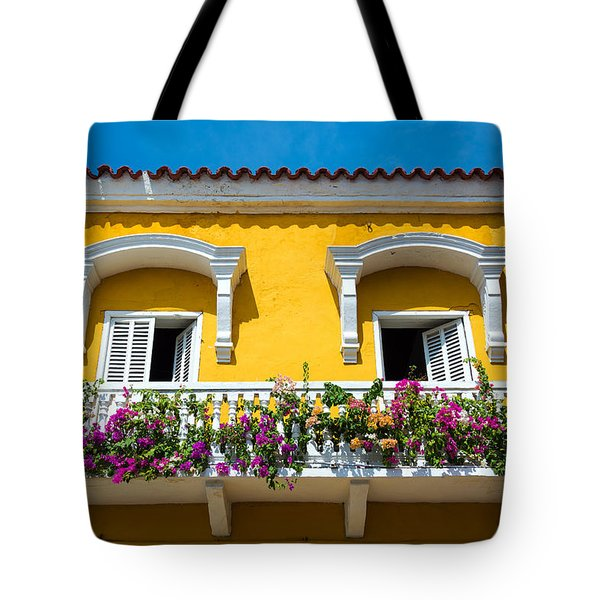 Colonial Balcony In Cartagena Tote Bag
