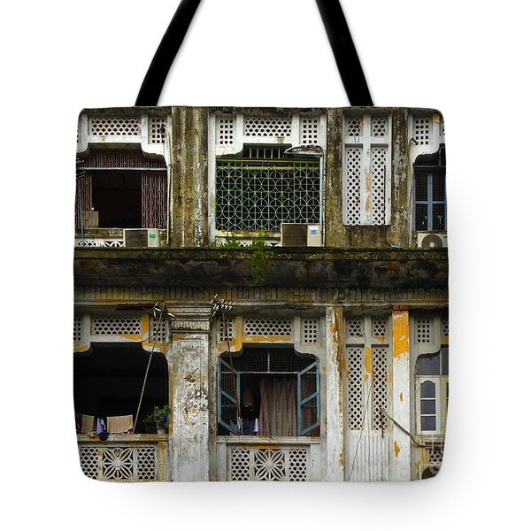 Colonial Facade Bo Soon Pat Street 8th Ward Central Yangon Burma Tote Bag