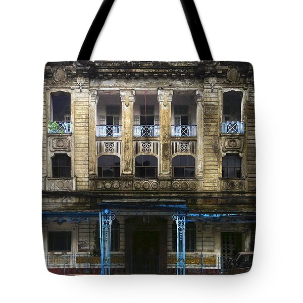 Tote Bag featuring the photograph Colonial Facade Merchant Street 8th Ward Central Yangon Burma by Ralph A  Ledergerber-Photography