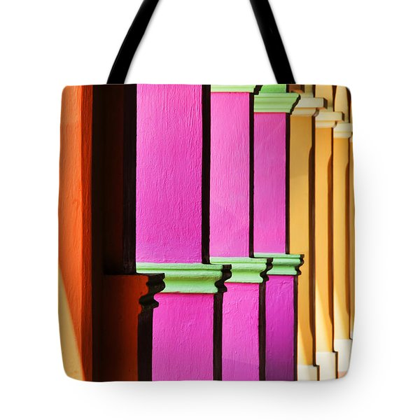 Tote Bag featuring the photograph Colorful Colonnade - Lake Chapala - Mexico - Travel Photography By David Perry Lawrence by David Perry Lawrence
