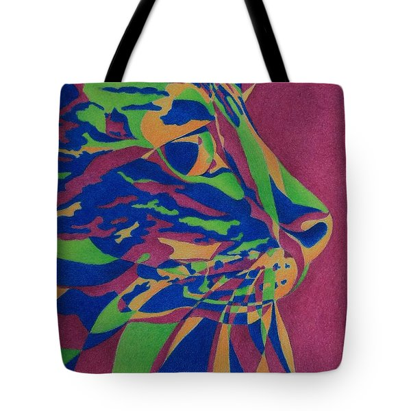 Tote Bag featuring the painting Color Cat I by Pamela Clements