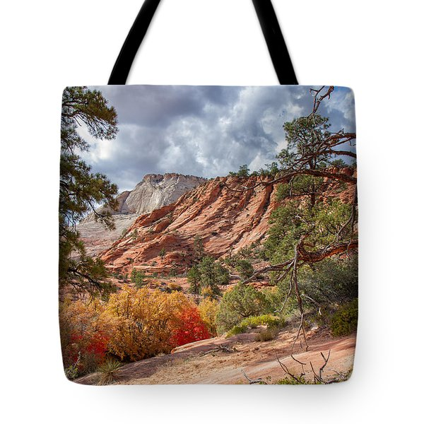 Tote Bag featuring the photograph Color Competition At Zion National Park by John M Bailey