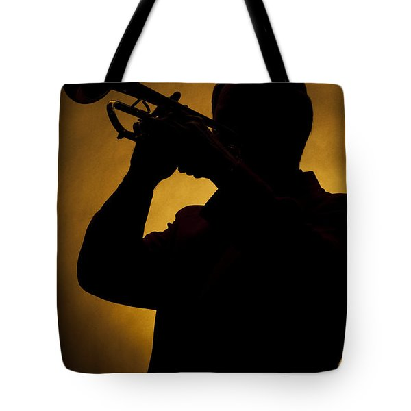 Color Silhouette Of Trumpet Player 3019.02 Tote Bag by M K  Miller