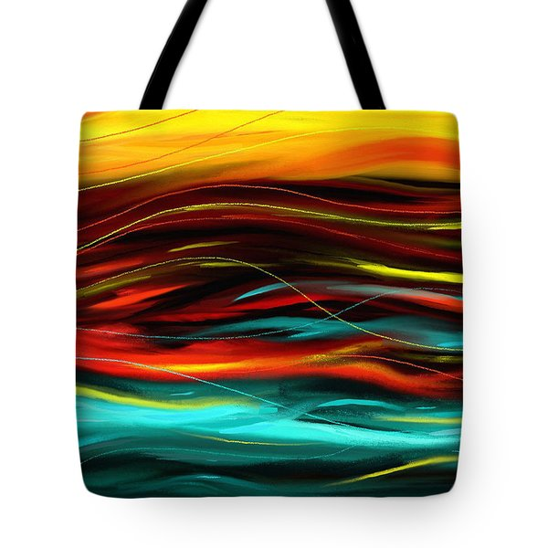 Tote Bag featuring the painting Color Waves by Shawna Rowe