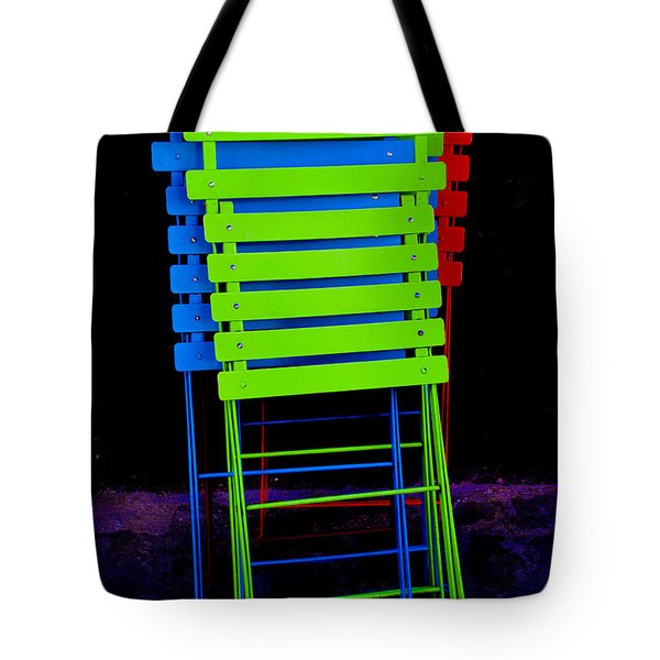 Tote Bag featuring the photograph Colorful Cafe Chairs by Dany Lison
