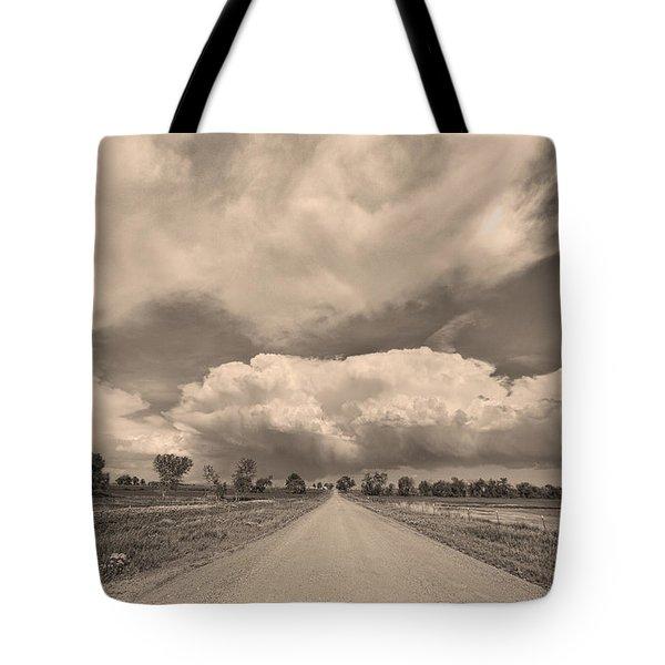Colorado Country Road Sepia Stormin Skies Tote Bag by James BO  Insogna