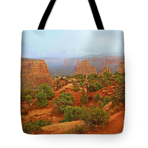 Colorado Natl Monument Snow Coming Down The Canyon Tote Bag