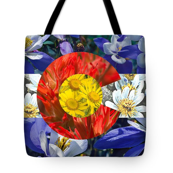 Colorado State Flag With Wildflower Textures Tote Bag by Aaron Spong