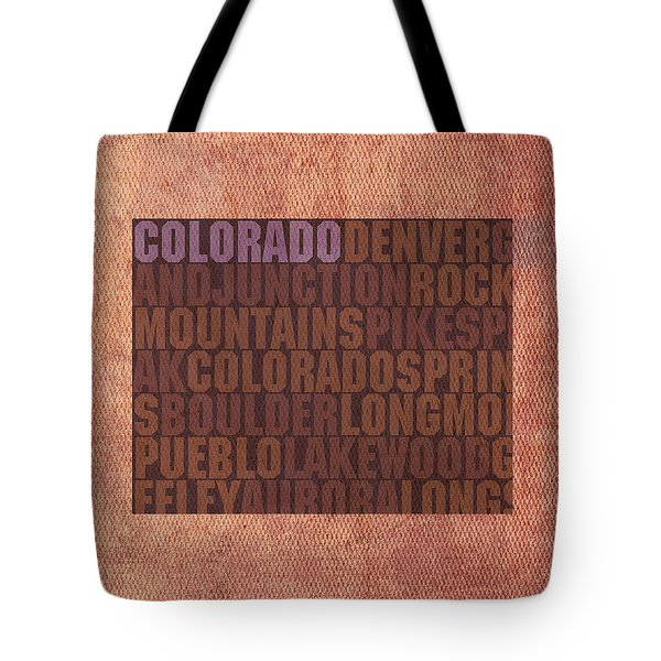 Colorado Word Art State Map On Canvas Tote Bag