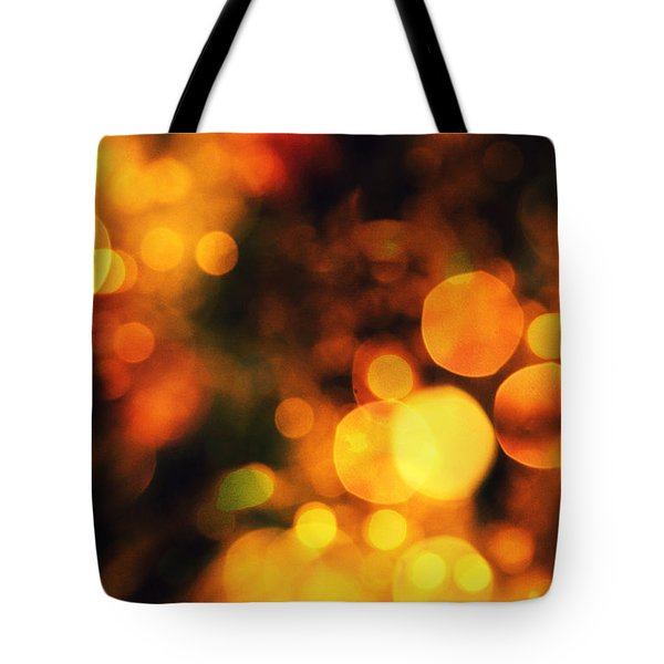 Tote Bag featuring the digital art Coloured Bokeh Lights by Fine Art By Andrew David