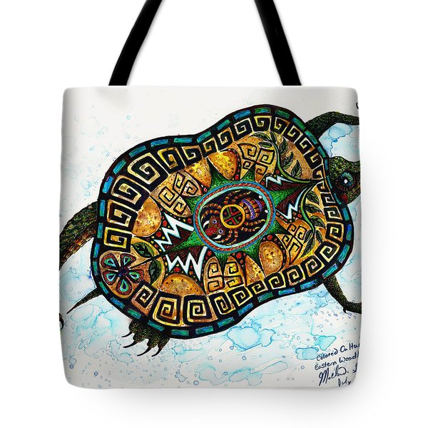 Colored Cultural Zoo C Eastern Woodlands Tortoise Tote Bag by Melinda Dare Benfield