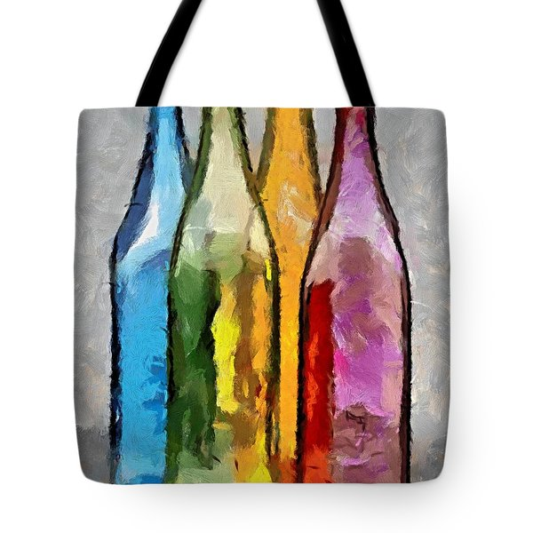 Colored Glass Bottles Tote Bag