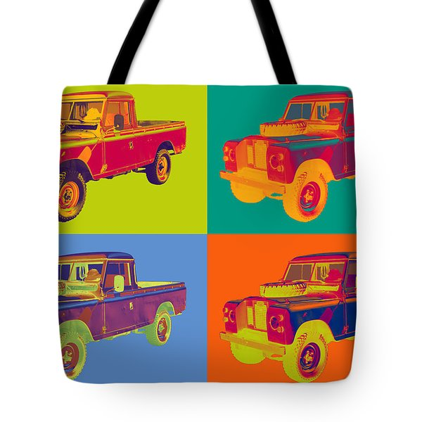 Colorful 1971 Land Rover Pick Up Truck Pop Art Tote Bag