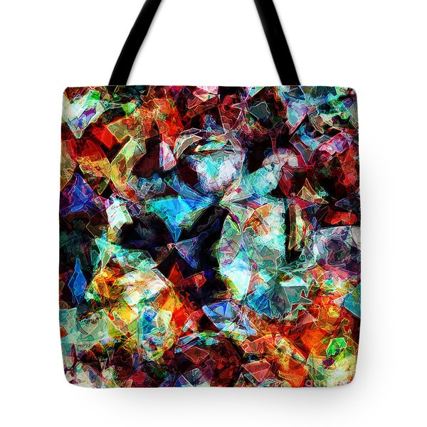 Tote Bag featuring the digital art Colorful Abstract Design by Phil Perkins