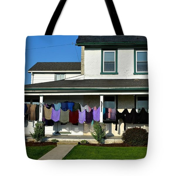 Colorful Amish Laundry On Porch Tote Bag