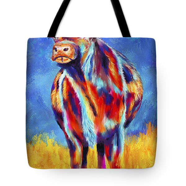 Colorful Angus Cow Tote Bag by Michelle Wrighton