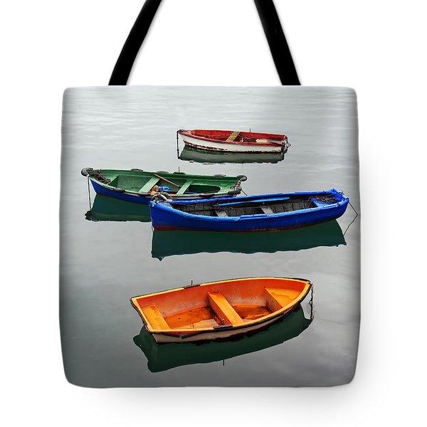 colorful boats on Santurtzi Tote Bag