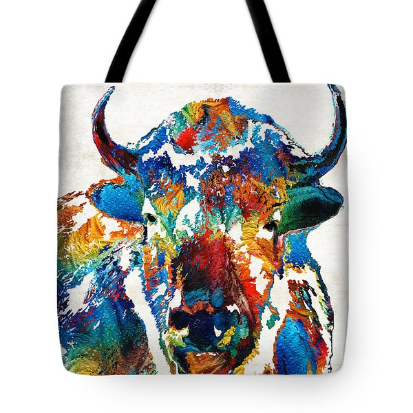Colorful Buffalo Art - Sacred - By Sharon Cummings Tote Bag
